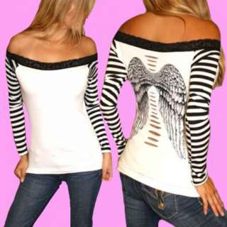 DEMI LOON DIY Sexy Tattoo Fallen Angel Wings Goth Punk Slashed Top X/S