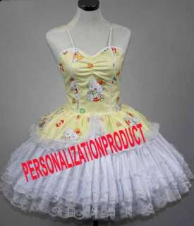 Sweet Gothic Lolita yellow Cosplay Hello Kitty Pattern 2 Ballroom