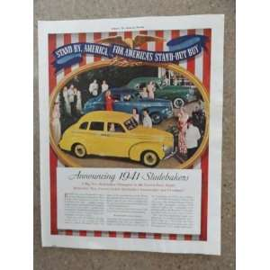 Vintage 40s full page print ad. (yellow car,blue car,green car, show