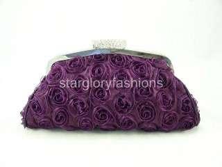Purple Roses Wedding Handbag Purse Clutch Lot Crystal CEL 025122