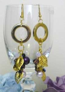 Purple Lilac Gold Swarovski Crystals Pearls Gold Filagree Statement