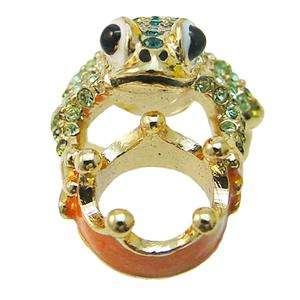 Cute Frog Toad Crown Ring Sz 7 Green Rhinestone Crystal Animal