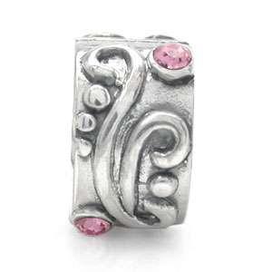 light rose pink crystal sterling silver charm bead bk0054720