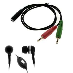 GTMax 3.5mm Soft Gel Microphone Headset + Headset to PC adapter for