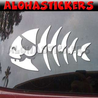 PIRATE SKELETON FISH Vinyl Decal Car Window Sticker I97