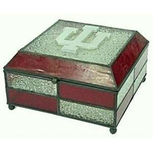 Indiana Hoosiers Stained Glass Charm/Jewelry Box