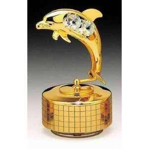 Dolphin 24k Gold Plated Swarovski Crystal Music Box