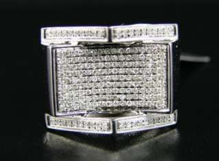 MENS WHITE GOLD FINISH PINKY SI DIAMOND XL RING .75 CT