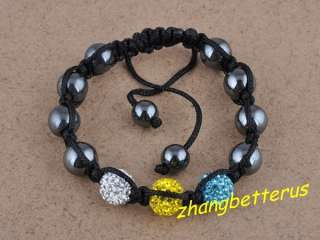 Rhinestone Pave Disco Bead Handmade Love Bracelet Bangle Xmas Gift