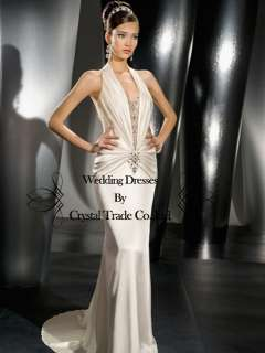 Elegant Halter White/Ivory Wedding Bridal Gown Prom Bridesmaid Evening
