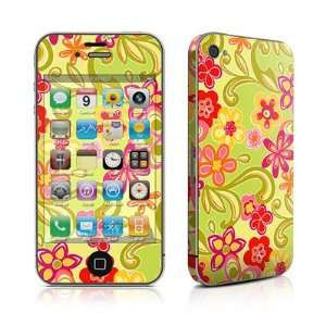 Hippie Flowers Hot Pink Design Protective Skin Decal Sticker for Apple