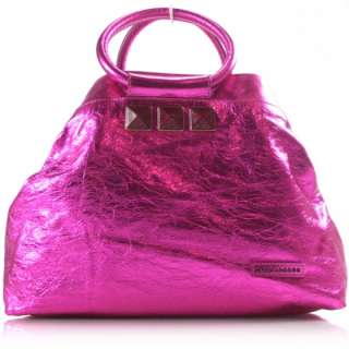 MARC JACOBS Metallic Fuchsia Crinkled Cruise Bag Tote
