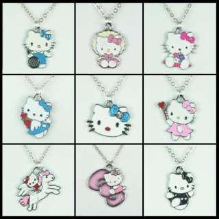 Lots Wholesale 9pcs Hellokitty Kitty Charms Pendants Girls Necklaces