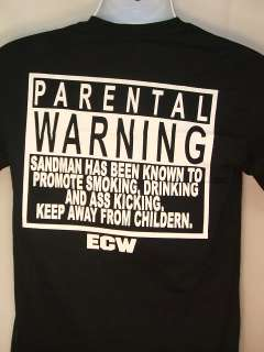 SANDMAN ECW Parental Warning T shirt New