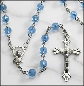 Catholic Rosary Bead Necklace ~ Blue Glass Round Beads