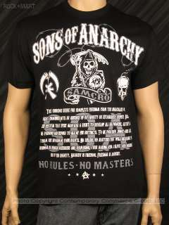 Officially Licensed SONS OF ANARCHY T Shirt No Rules No Masters Mens