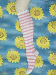 New Womens Stripe Pink White Knee High Socks b037