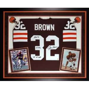 Jim Brown Signed Jersey   FRAMED DELUXEw/3 STATS Sports