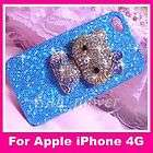 Bling Hello Kitty Pearl Rhinestone 3D Bow Case Cover for iPhone 4 4S