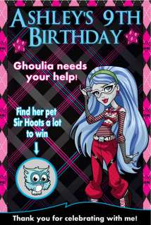 Monster High Birthday Party Scratch Off Game Card/Favor