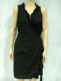 ANN TAYLOR LOFT Black Cotton Stretch Ruffle Wrap Dress Sz 12P