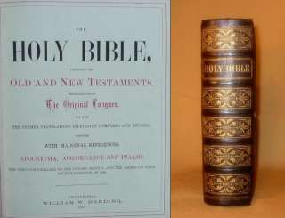 1876 HOLY BIBLE Full Tooled Leather ENGRAVs Clasp Folio