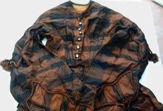 Black & Tan Taffeta Plaid Dress Large Sleeves Tassels & Cord