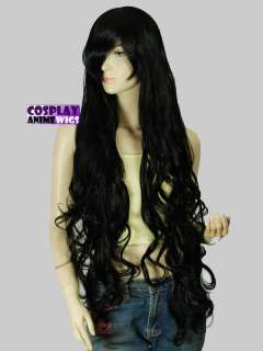 Black Extra Long Curly Wavy Cosplay Wig