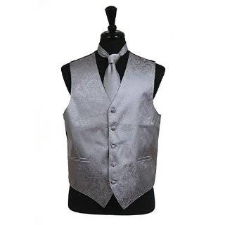 Mens SILVER GRAY Dress Vest and NeckTie Set for Suit or