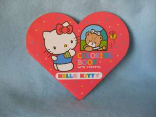 Sanrio Hello Kitty Heart Coloring Book w/Seal Collectible Vintage 1976