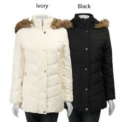 Anne Klein Womens Snap Front Hooded Down Parka