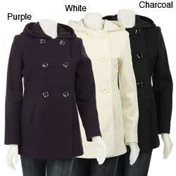 AK Anne Klein Womens Double breasted Hooded Peacoat