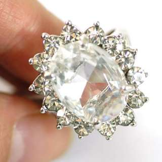 Shipping White Sun Flower Gemstone 10K GP Diamante Ring Craft