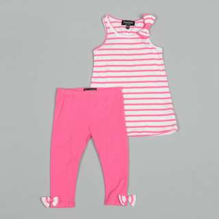 ABS Toddler Girls Striped Knit Top with Bow and Leggings  Overstock
