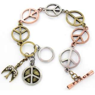 Tri color Peace and Crystal Dove Charm Bracelet