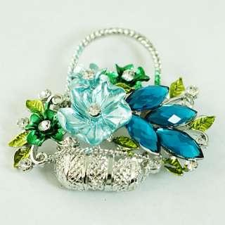 d9044 Lady Blue Flower Basket Silver Plated Leaf Gemstone Brooch Pins