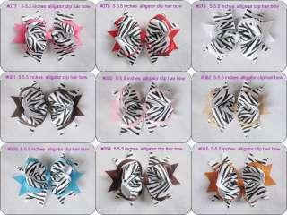 10 baby girl boutique Zebra hair bows 5 5.5 inches alligator clip