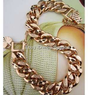 Thick 18k Rose Gold Filled Ladys Bracelet Curb Chain 10mm Width GF