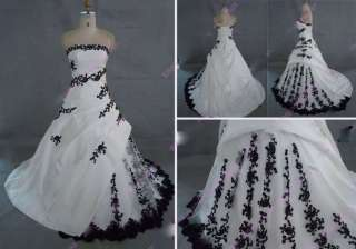 White And Black Embroidery Bridal Wedding Dress Prom Gown Stock Size