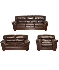 Bailey Brown Leather Sofa, Loveseat and Chair