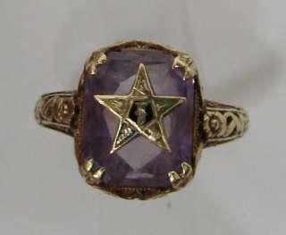 Masonic Eastern Star Purple Stone 14K Gold Ring 2.5g/Size 5.25