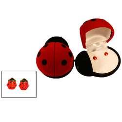 14k Gold and Enamel Ladybug Earrings