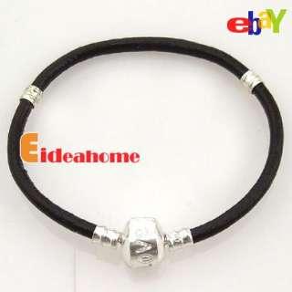 Multi Colors Leather Clasps Charms Bracelets Fit European Beads 17cm