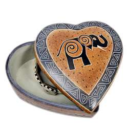 Soapstone Elephant Design Heart Jewelry Box (Kenya)