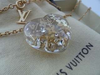 New Louis Vuitton Transparent Inclusion Clear Crystal Heart Necklace