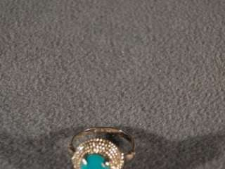 SILVER GOLD BOLD OVAL SLEEPING BEAUTY TURQUOISE FANCY RING 5.5