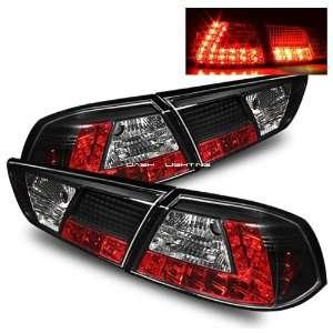 08 10 Mitsubishi Evolution X LED Tail Lights   Black
