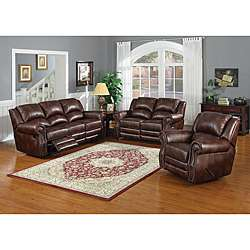Fulton Double Reclining Brown Leather Sofa