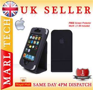 APPLE LOGO LEATHER FLIP CASE COVER STAND FOR IPHONE 4
