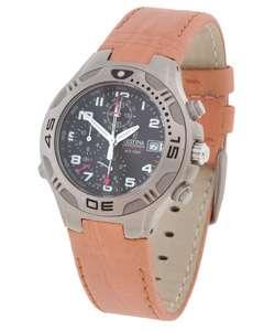Festina Mens Black Dial Titanium Chronograph Watch with Tan Leather